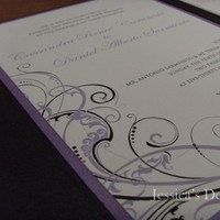 Stationery, purple, green, black, Invitations