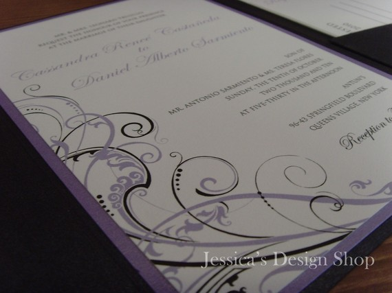 Stationery, purple, green, black, Invitations