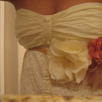 Beauty, Flowers & Decor, Bridesmaids, Bridesmaids Dresses, Wedding Dresses, Fashion, white, pink, brown, gold, dress, Bridesmaid Bouquets, Flowers, Flower, Wedding, Hair, Sash, Belt, Handmade, Flower Wedding Dresses