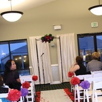 Ceremony, Flowers & Decor, white, red, purple, Pomander, Aisle