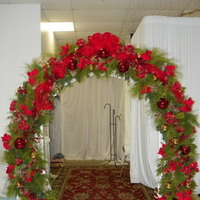 Reception, Flowers & Decor, red, green, silver, gold, Flowers, Entrance, Wreath, Christmas