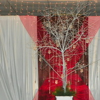 Reception, Flowers & Decor, white, red, brown, silver, Flowers, Tree, Manzanita, Votives, W