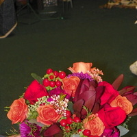 Ceremony, Flowers & Decor, Bridesmaids, Bridesmaids Dresses, Fashion, orange, red, purple, green, brown, Ceremony Flowers, Bridesmaid Bouquets, Flowers, Bridesmaid bouquet, Flower Wedding Dresses