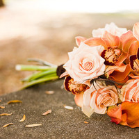 Beauty, Flowers & Decor, white, yellow, orange, brown, gold, Feathers, Bride Bouquets, Flowers, Bouquet, Bridal