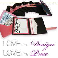 Favors & Gifts, Stationery, white, pink, black, invitation, Favors, Invitations, Ribbon, Pocket, Print, Stardream, Template