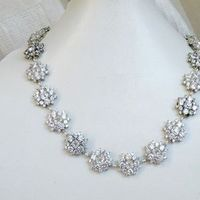 Jewelry, white, silver, Necklaces, Wedding, Bridal, Necklace, Rhinestones, Cz, Cubic, Zirconia
