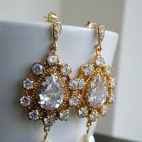 Jewelry, white, ivory, gold, Earrings, Bridal, Weddings, Swarovski, 3, Pearl, Cz, Strand, Cubic, Zirconia, Filled