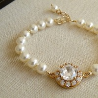 Jewelry, white, ivory, gold, Bracelets, Bridal, Weddings, Bracelet, Swarovski, 3, Pearl, Cz, Strand, Cubic, Zirconia, Filled