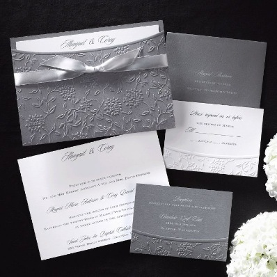 Stationery, white, blue, gray, silver, Invitations, Grey
