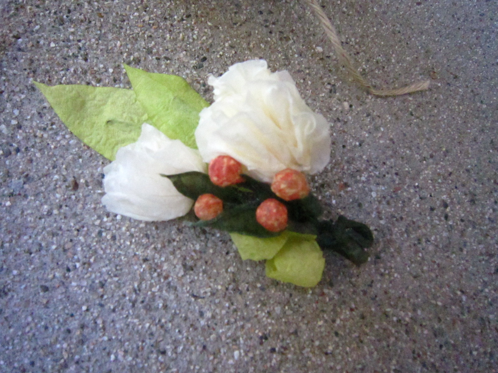 Flowers, Bridal, Groom, DIY, Party, Cream, Peach, Lime, Paper, Grooms, Fake, Men, Artsy, Boutonnier, Flowers & Decor