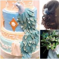 Flowers & Decor, Cakes, blue, green, cake, Bride Bouquets, Flowers, Bouquet, Inspiration board, Peacock, Fascinator