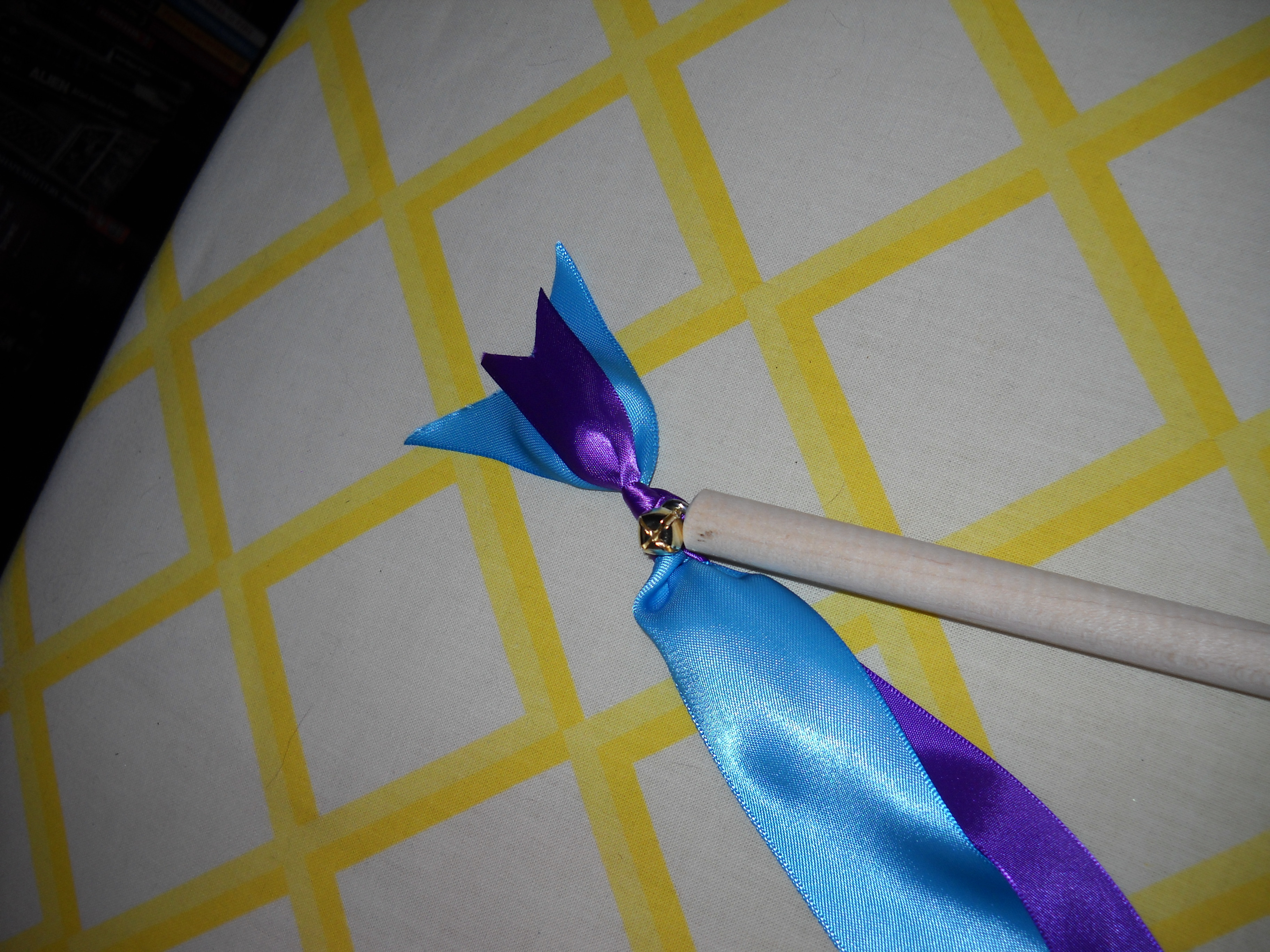 purple, blue, gold, Ring, Ribbon, Satin, Turquoise, Eye, Bell, Wand, Claytonandshauna, Split, Screw, Dowel, Ribbonwand, Eyescrew, Splitring