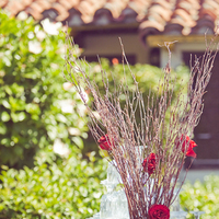 Reception, Flowers & Decor, red, burgundy, Rustic, Outdoor, Rustic Wedding Flowers & Decor, Roses, Romantic, Chocolate, Brunch, Manzanita, Trees, Scrabble, Fiona chris
