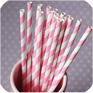 white, pink, Strohalme