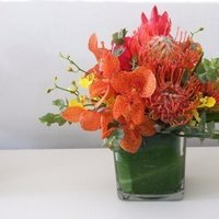 Flowers & Decor, yellow, orange, pink, green, Centerpieces, Flowers, Centerpiece, Tropical, Proteas