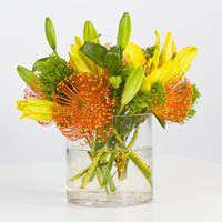 Flowers & Decor, yellow, orange, green, Flowers, Proteas