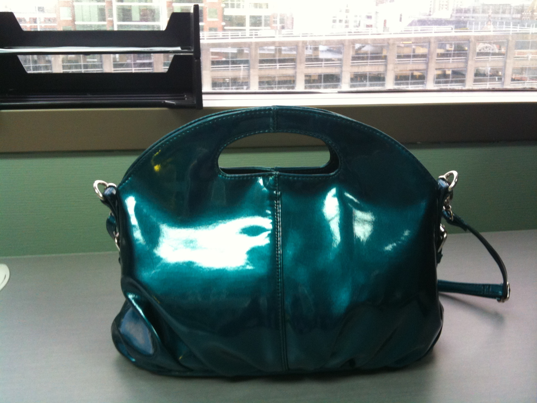 blue, Purse, Leather, Patent, Claytonandshauna