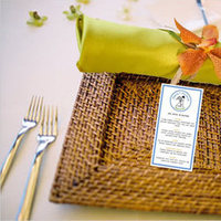 Reception, Flowers & Decor, orange, blue, green, Place setting, Mockup