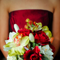 Ceremony, Flowers & Decor, Bridesmaids, Bridesmaids Dresses, Wedding Dresses, Fashion, white, orange, red, green, dress, Ceremony Flowers, Bride Bouquets, Bridesmaid Bouquets, Flowers, Roses, Bouquet, Lilies, And, Orchids, Inspiration board, Flower Wedding Dresses
