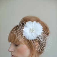 Beauty, Flowers & Decor, Veils, Fashion, white, Flowers, Veil, Hair, Birdcage, Flower Wedding Dresses