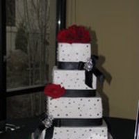 Reception, Flowers & Decor, Cakes, red, black, cake, Flowers, Cutting