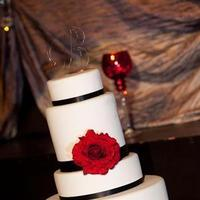 Reception, Flowers & Decor, Cakes, red, black, silver, cake, Damask