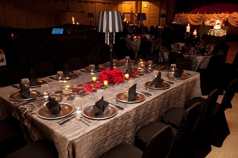 Reception, Flowers & Decor, red, black, silver, Linen, Lamps