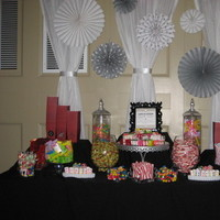 Reception, Flowers & Decor, Favors & Gifts, white, red, black, silver, Favors, Candy, Buffet