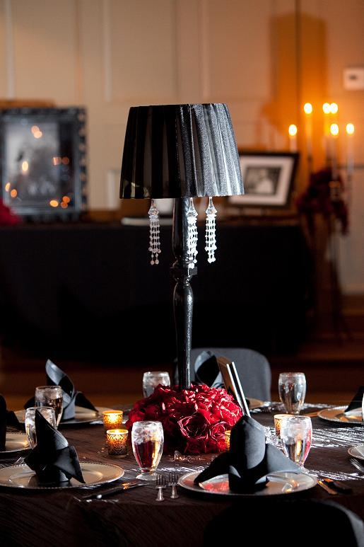 Reception, Flowers & Decor, red, black, silver, Roses, Napkins, Linen, Crystals, Lamps