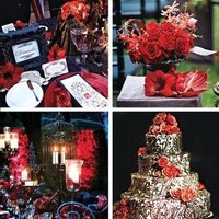 Reception, Flowers & Decor, Cakes, purple, black, cake, Flowers