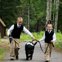 Ceremony, Flowers & Decor, white, blue, green, Ceremony Flowers, Flowers, Flower, Dog, Ringbearer, Navy