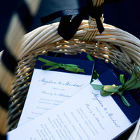 Stationery, blue, green, Invitations, Programs, Navy