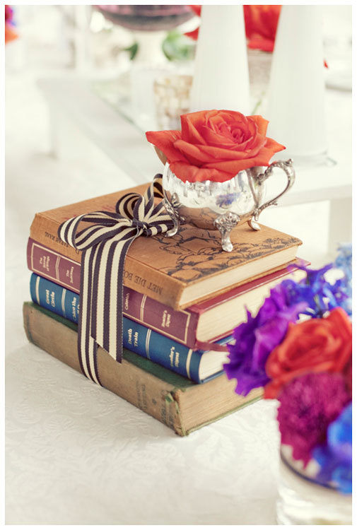 Reception, Flowers & Decor, orange, pink, red, purple, blue, green, brown, silver, Centerpieces, Flowers, Inspiration board, Cup, Books
