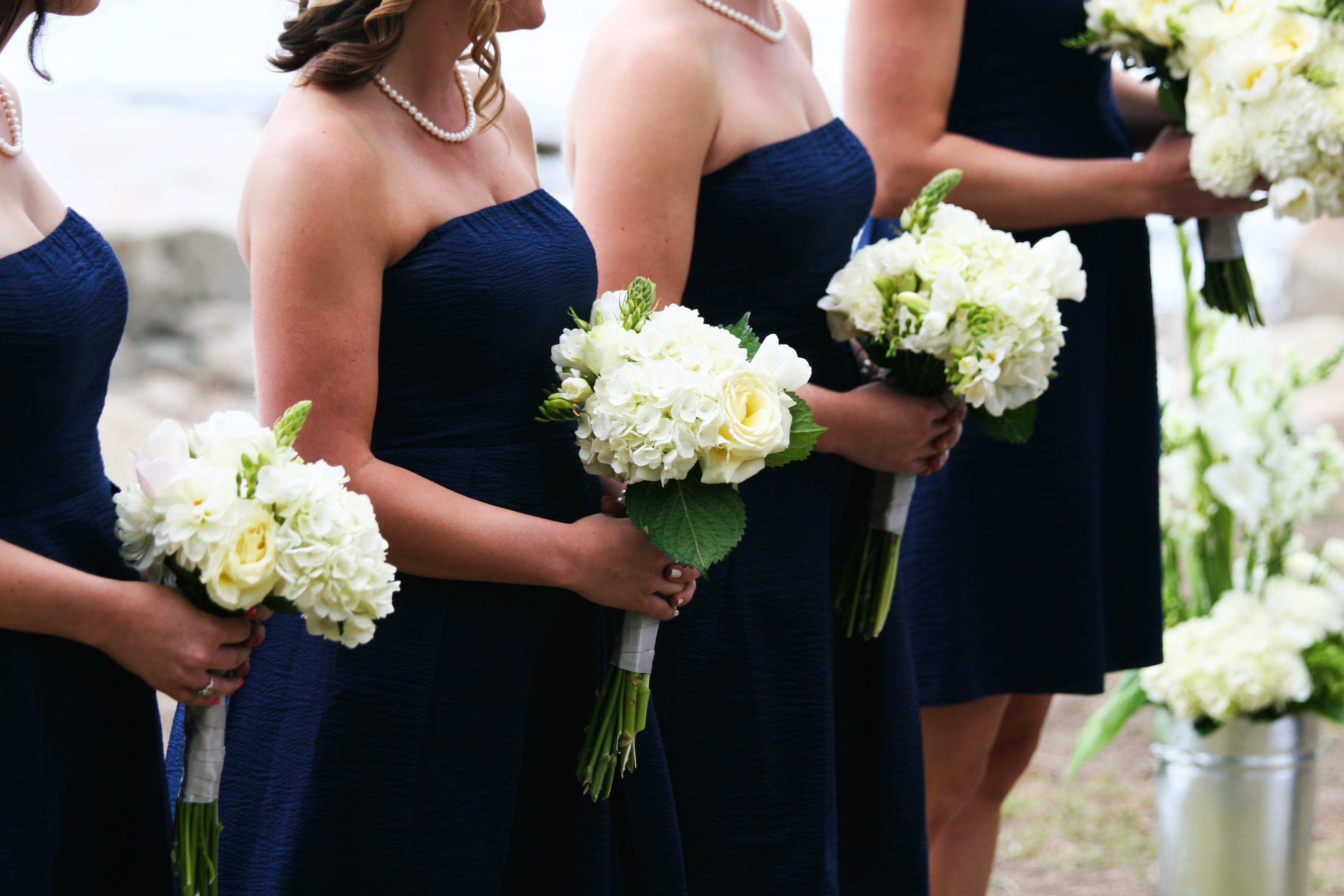 Bridesmaids in navy blue j crew dresses project wedding for Navy dresses for weddings