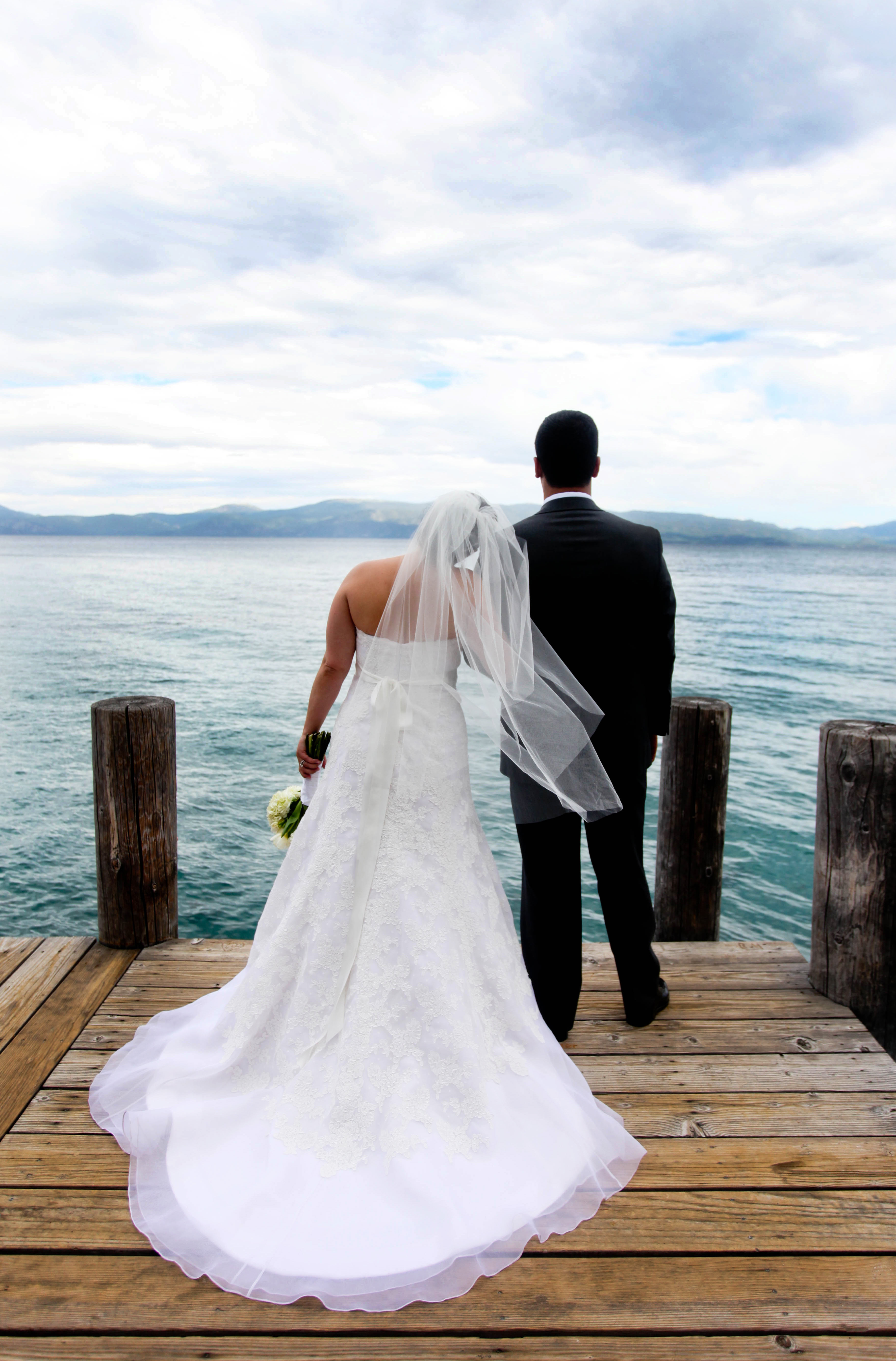 Wedding Dresses, Veils, Fashion, white, gray, dress, Veil, Lake, Tahoe, dock