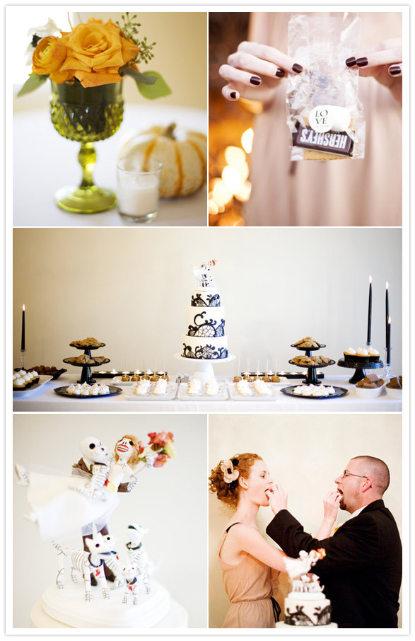 Reception, Flowers & Decor, Favors & Gifts, Cakes, white, brown, black, cake, Favors, Food, Chocolate, Station, Inspiration board, Smore, Marshmellows, Gram, Crackers