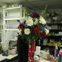 Reception, Flowers & Decor, white, red, blue, Flowers