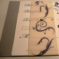 Stationery, white, blue, silver, Invitations