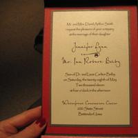 Stationery, white, red, black, silver, Invitations