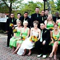 Reception, Flowers & Decor, Bridesmaids, Bridesmaids Dresses, Wedding Dresses, Fashion, yellow, orange, green, black, dress, Bridesmaid Bouquets, Flowers, Flower Wedding Dresses