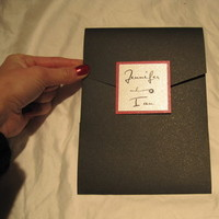 Stationery, white, red, black, silver, Invitations