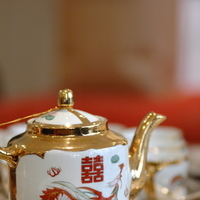 Reception, Flowers & Decor, red, gold, Inspiration board, Tea set, Wedding tea set, Chinese tea set