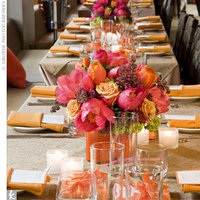 Reception, Flowers & Decor, orange, pink, brown, gold, Centerpieces, Centerpiece