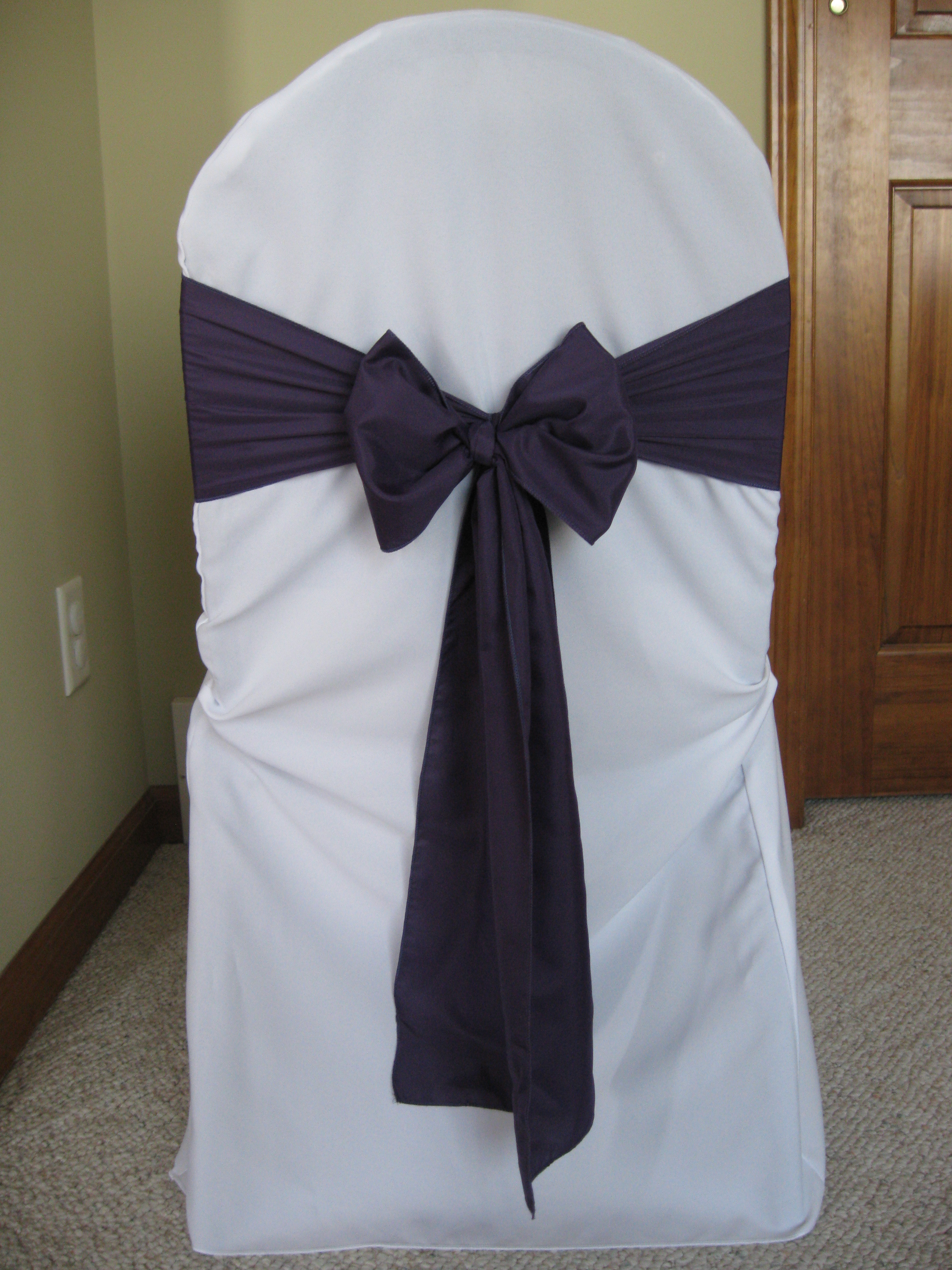 Ceremony, Reception, Flowers & Decor, purple, Chair, Sash, Linens, Dark, Eggplant, Lapis