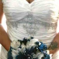 Beauty, Flowers & Decor, white, blue, Feathers, Bride Bouquets, Flowers, Flower, Bouquet, Feather