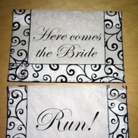 Ceremony, Flowers & Decor, white, black, Bride, And, The, Flourish, banners, Comes, Here