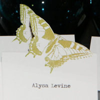 Reception, Flowers & Decor, white, green, Butterfly placecard