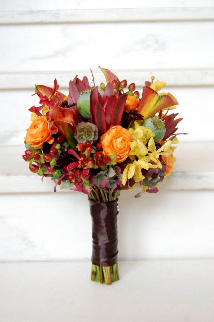 yellow, orange, purple, Bridesmaid Bouquets, Fall Wedding Flowers & Decor, Rustic Wedding Flowers & Decor