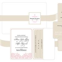 Stationery, white, pink, gold, Invitations