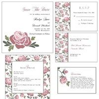 Flowers & Decor, Stationery, white, pink, Garden, Invitations, Rose, Card